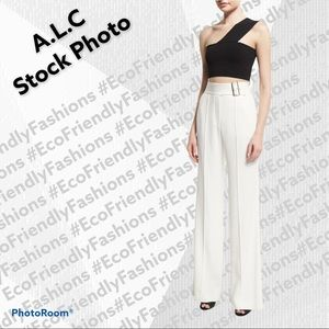 A.L.C. White Madeline Belted Crepe Wide-leg Pants